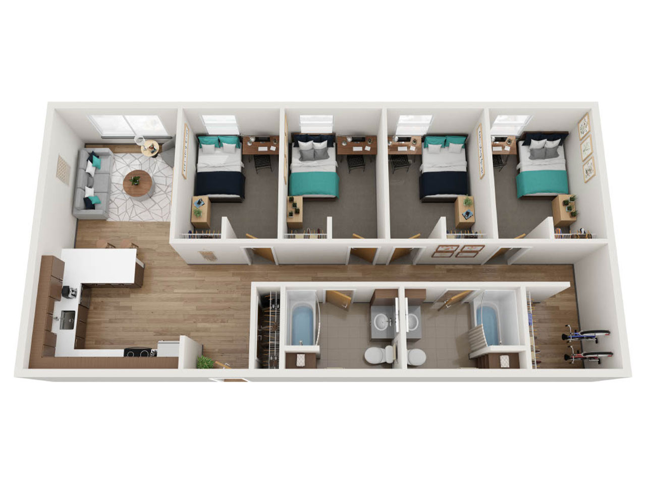 Aerial View of a Floor Plan for a 4 Bedroom Apartment at Stateside
