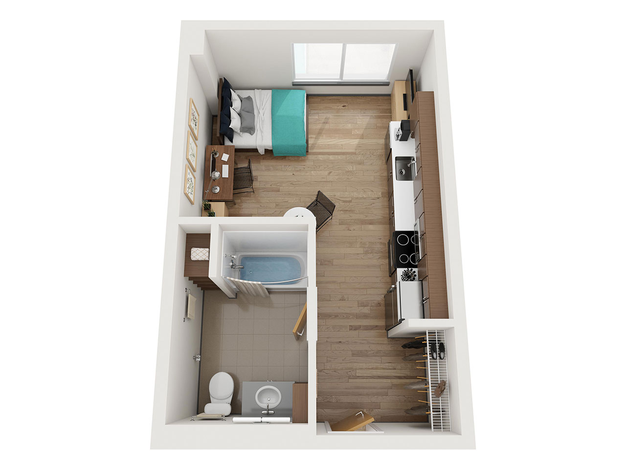 Aerial View of a Floor Plan for a Studio Apartment at Stateside