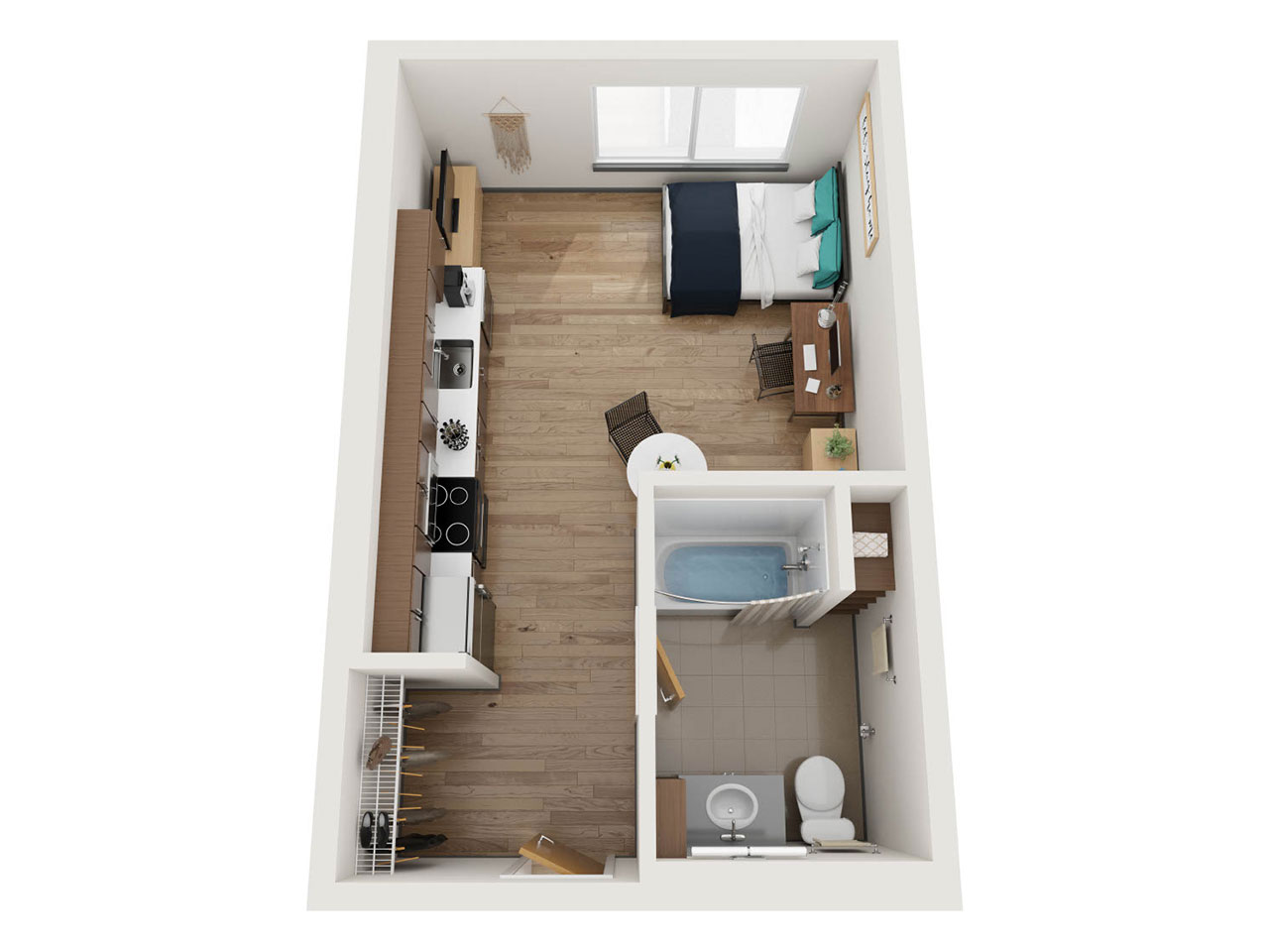 Birds-Eye View of a Floor Plan for a Studio Apartment at Stateside
