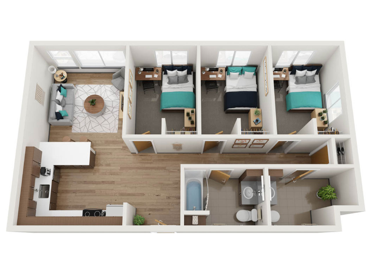 Birds-Eye View of a Floor Plan for a 3 Bedroom Apartment at Stateside