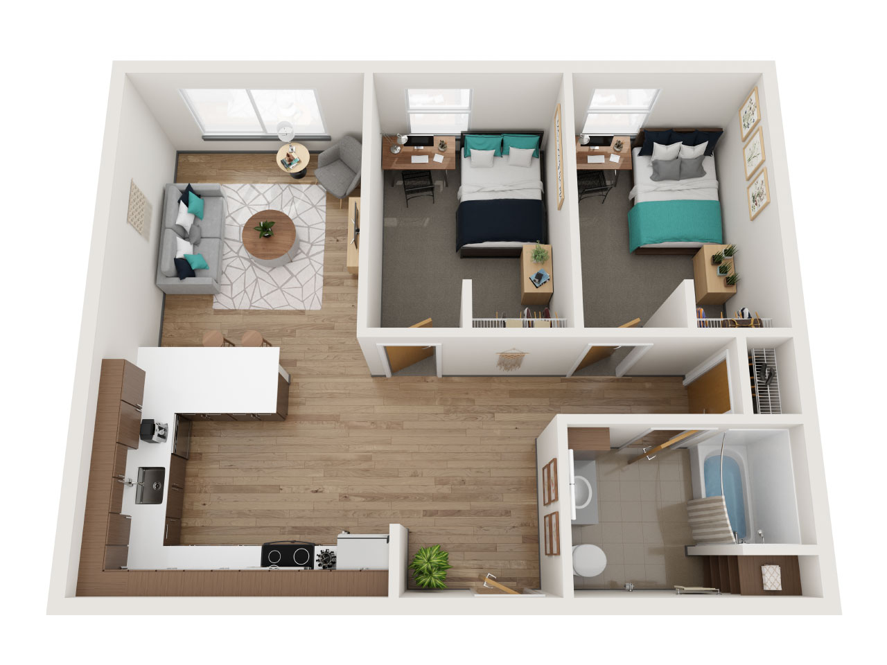 Aerial View of a Floor Plan for a 2 Bedroom Apartment at Stateside