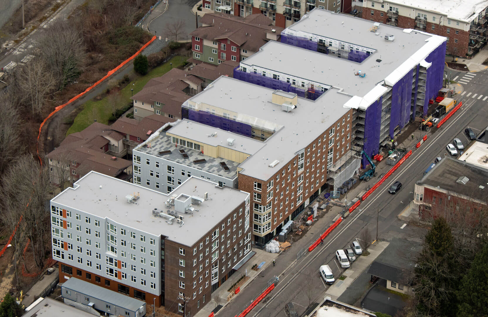 Aerial View of Stateside Apartments Undergoing Construction